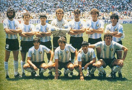 Argentina's 1986 World Cup winning team before the final. Top row from left: Batista, Cuciuffo, Olarticoechea, Pumpido, Brown, Ruggeri and Maradona. Bottom row from left: Burruchaga, Giusti, Enrique and Valdano.