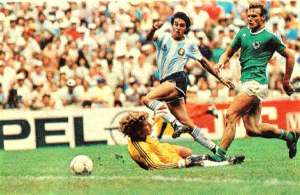 The goal that won the World Cup for Argentina six minutes from time. Burruchaga raced clear, beat Schumacher with a simple finish and Briegel (right) was too late to tackle.