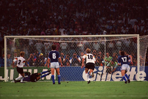 The World Cup final winning goal: Andreas Brehme's (3) perfectly placed penalty wide of Goycoechea was the only goal of the game.