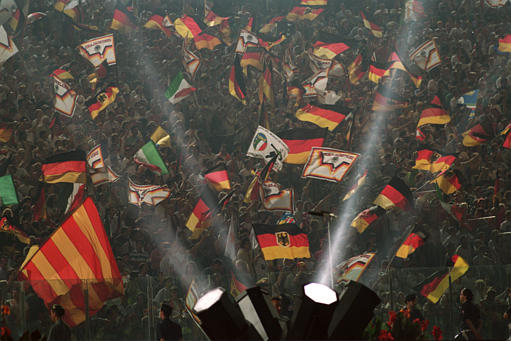 West German fans celebrate their third World Cup title.