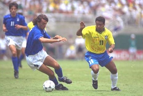 Paolo Maldini and Romario battle for possession. Romario was given little space in this final which turned out to be an anti-climax compared to many of the earlier games in this World Cup.