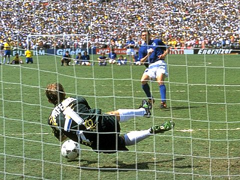 Drama in the penalty shoot-out. Taffarel saves the attempt from Massaro. Italy are in trouble.