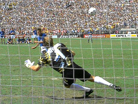 The moment of truth. Roberto Baggio fires his penalty over the bar in the shoot-out and Brazil are the new world champions.